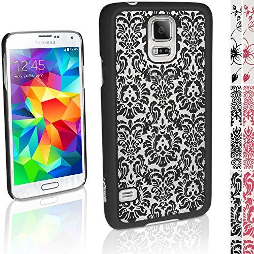 """igadgitz """"3D Designer Collection'' Schwarz Vintage Muster Hart Tasche Hülle für Samsung Galaxy S5 SV SM-G900 + Display Schutzfolie"""