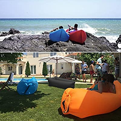 Suyi Portable Inflatable Air Bed Lounger Sofa Chair Sleeping Bag Mattress Couch Blow Up Beds for Camping Beach Park Backyard Pool - cheap UK light shop.
