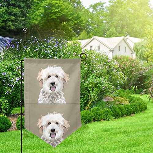 IconSymbol Garden Outdoor Flag Stand Banner Golden Doodle Dog with Cut Lines Dog Panel Dog Cut Sew Decorative Weather Resistant Double Stitched 18 x 12.5 Inch
