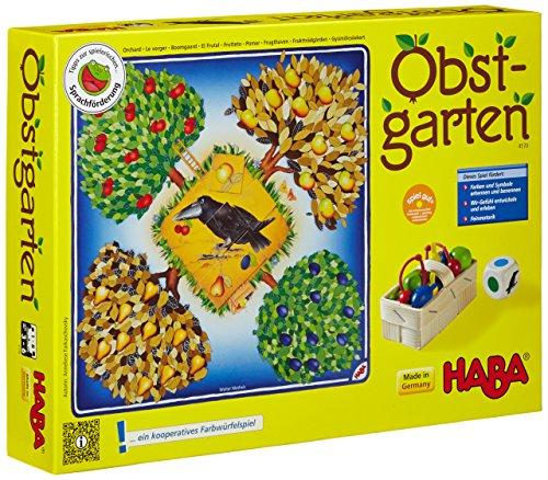 HABA-4170-Obstgarten-Wrfelspiel HABA 4278 – Mein erster Spieleschatz Die große Spielesammlung, 10 unterhaltsame Brett-, Memo- und Kartenspiele ab 3 Jahren in Einer Packung, Kindgerechtes Spielmaterial aus Holz -