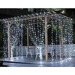 LE Luci Cascata per Finestra Porta 3 x 3m 306 LED, 8 Modalità, Funzione di Memoria Lucine fatate romantiche per Decorazione Feste Luce bianca diurna 6000K