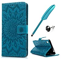 Sony Xperia XA Ultra Case Flip MAXFE.CO 6.0 Inch Protective Wallet Case Sunflower Embossed PU Leather Stand Case Cover for Xperia XA Ultra/ C6 with Card Holder Magnetic Clasp & One Touch Pen & One Dust Plug, Blue