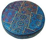 Guru-Shop Coussin Patchwork Rond Oriental 50 cm, Coussin D`assise, Coussin de sol Avec Rembourrage en Coton - Bleu, Bleu , Viscose, Étage, Chaise