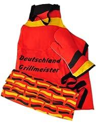 Brauns Deutschland Grill-set 3-teilig, schwarz/rot/gold, 95010