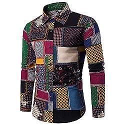 UJUNAOR Männer Lässige Lange Ärmel Hemd Geschäft Slim Fit Hemd Gedruckt Bluse Top Plus Größe(EU M/CN L,Multicolor)