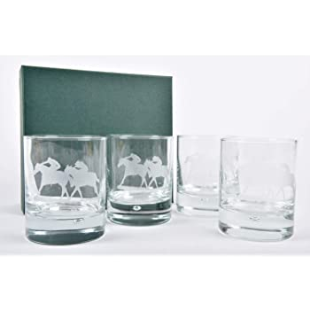Animo Glass At The Races Engraved Highball Horses Decorated Tumbler Gift Box