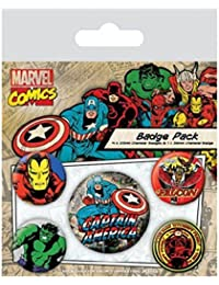 Captain America Badge Pack - Marvel Retro, 1 X 38mm & 4 X 25mm Badges (6 x 4 inches)