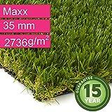 Kunstrasen Rasenteppich Maxx für Garten - Florhöhe 35 mm - Gewicht ca. 2736 g/m² - UV-Garantie 12 Jahre (DIN 53387) - 4,00 m x 3,50 m | Rollrasen | Kunststoffrasen