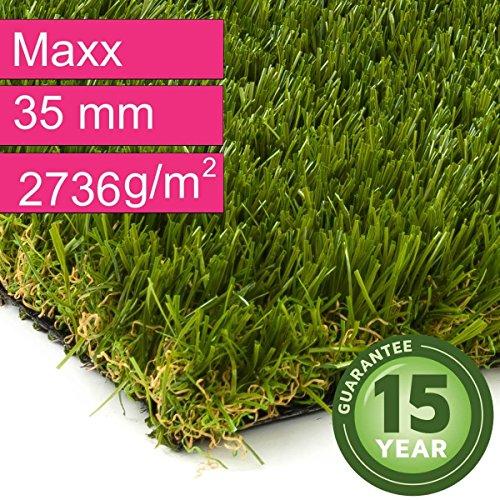 Kunstrasen Rasenteppich Maxx für Garten - Florhöhe 35 mm - Gewicht ca. 2736 g/m² - UV-Garantie 12...
