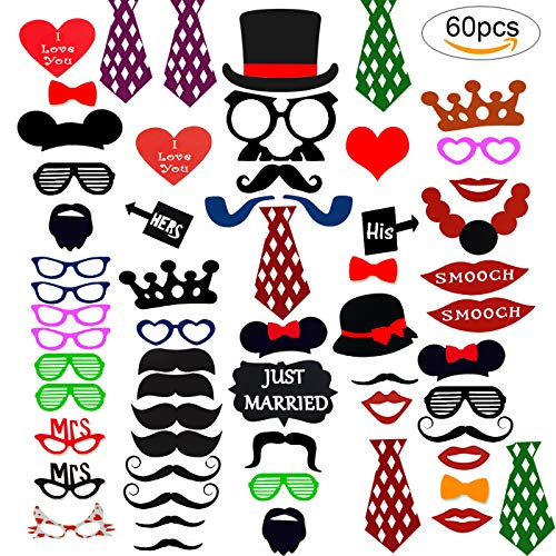 Cotigo-60Pcs Photo Booth Atrezzo Favorecer Incluyendo Bigotes Gafas Labios Sombreros para Boda Bautizos Cumpleaños y Fiesta Especiales