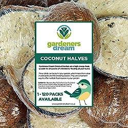 GardenersDream Suet Filled Coconut Halves - Garden Fat Feeder Wild Bird Food