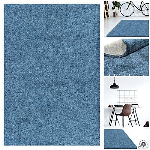 Handgefertigter Extrem Weicher Handtuft Teppich Einfarbig in Jeans Blau | Hochwertige Oeko-Tex Teppiche geeignet auch als Kinderteppiche und Babyteppiche | Flauschiger Uni Hochflor Shaggy Läufer, Größe:130x190 cm
