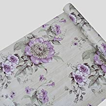 Rollo de papel para la pared autoadhesivo Floral papel de contacto estante maletero para armarios de cocina cajones estantes mesa artes y manualidades para pared (45x 1000cm, morado)