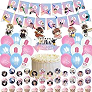 BTS Birthday Party Decorations Supplies 18 Colorful Balloons, 1 Happy Birthday Banner, 1 Big cake inserted car