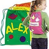 Mochilas de colores con cierre de cordones en 4 colores diferentes, tamaño 34 x 23 cm, que los niños pueden decorar y personalizar (pack de 4).