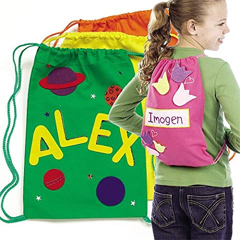 Coloured Drawstring Backpacks 4 Assorted Colours, Size 34cm x 23cm for Children to Decorate & Personalise (Pack of