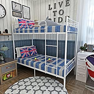 Bunk Bed Metal Frame Kids Twin Triple Sleeper 3ft Single Bedroom Furniture For Children Adult (White)