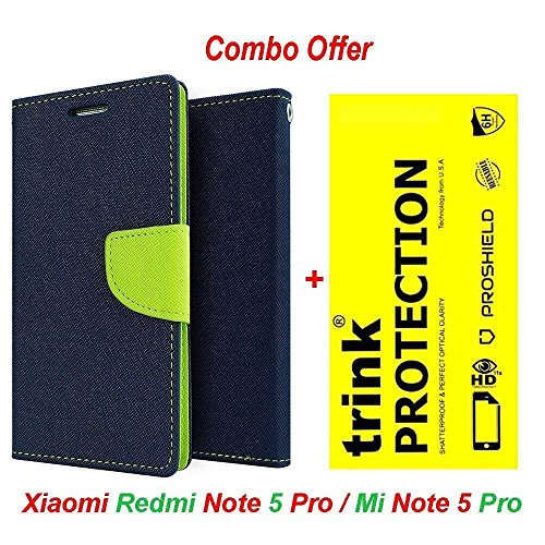 Redmi Note 5 Pro Original (COMBO OFFER) Like It Grab It Wallet Style Flip Cover Case for Xiaomi Redmi Note5 Pro (Blue) + Premium Hardness Tempered Glass screen protector (Blue-Trink)