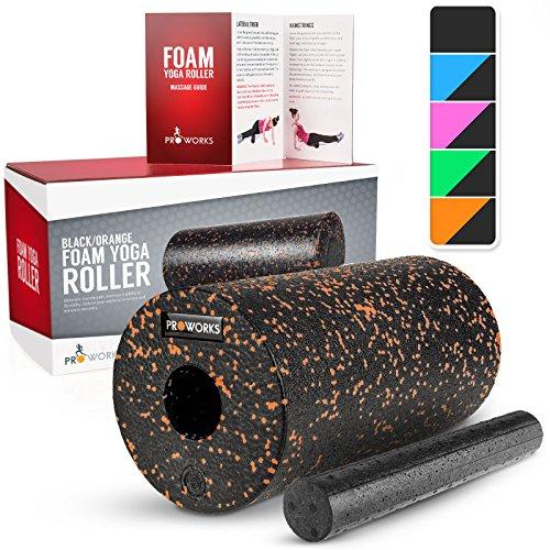 Proworks Faszienrolle aus Schaumstoff inkl. Booklet zur Triggerpunkt Selbstmassage - Massagerolle gegen Muskelschmerzen & Verspannungen - Foam Roller für Yoga & Pilates - Schwarz & Orange -