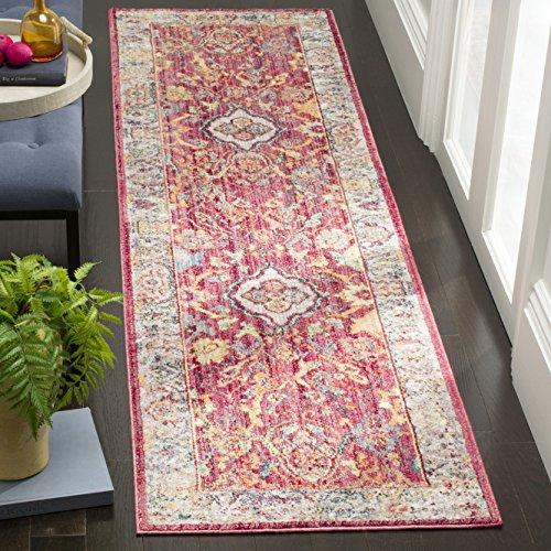 Safavieh Eleganter Teppich, BTL361, Gewebter Polyester Läufer, Rose / Hellgrau, 62 x 240 cm - Safavieh Transitional Teppiche