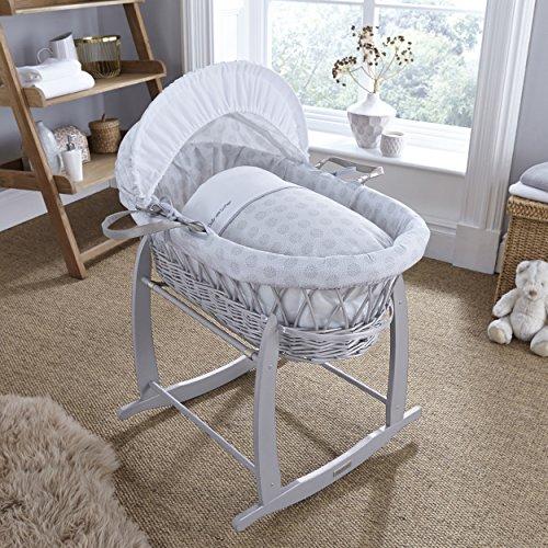 Clair de Lune Speckles gris mimbre Moisés Basket inc. ropa de cama, colchón y capucha ajustable (gris)