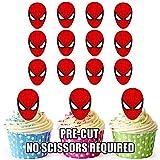 Vorgeschnittener Spiderman Superheld - Essbare Cupcake Topper / Kuchendekorationen (12 Stück)