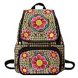Yunnan Blumen bestickt Rucksack für Teenager Schultaschen Daypack chinesischen ethnischen Stil Floral Frauen Tasche Sac Random Blue Floral