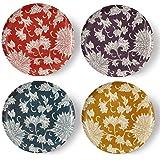 cartaffini–Lot de 4Assiettes Plates Ø 24cm, Collection Damas (Ocre, pétrole, Aubergine et Rouge)