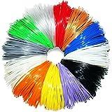 Filament-Nachfüller für 3D-Stifte - INKLUSIVE BONUSFARBE, DIE IM DUNKELN LEUCHTET - 1,75 mm ABS - 73 laufende Meter, insgesamt 12 verschiedene Farben (je 6 Meter Länge)