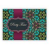 Elegante Einladungskarte für Geburtstags Fete, Abi Feier, Geburtstags Fest mit arabischem Muster im orientalischen Stil, hellblau türkis: Party time