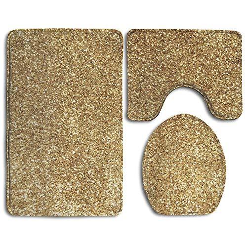 krooe Nuovo Placer Rettifica Oro 3 Pezzi tappetini da Bagno Set tappetini Antiscivolo per Il Bagno//Tappetino per Il Contorno//Copri Tappi da Bagno per WC 20x32 3 Piece3
