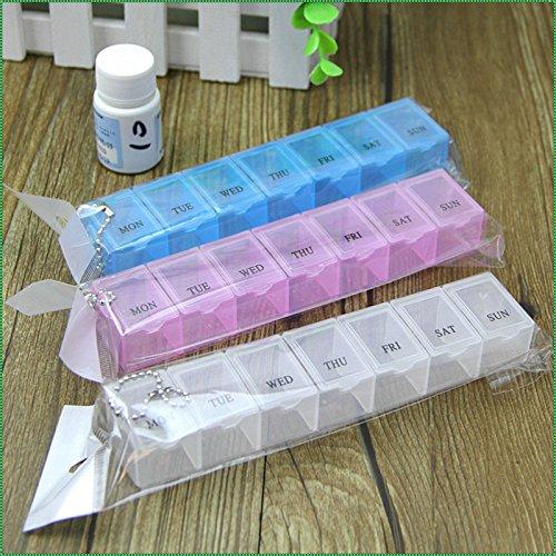 61yx7nhBnIL - Caja de pastillas semanal de 7 días, organizador del dispensador de medicamentos de almacenamiento