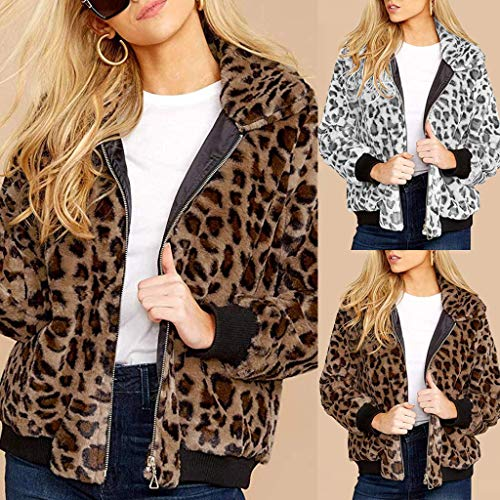 XINAINI Damen Jacke Elegant Langarm Mantel Bomberjacke ReißVerschluss Taschen - Leopard Strickjacke Sport Mantel LäSsig Outwear Kurz Coat ÜBergangs Wintermantel Weihnachten 2