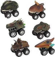 FOONEE Dinosaurier-Autos, Kinder-Rückzieh-Dinosaurier-Fahrzeug, Mini-Tier-Spielzeug für Kleinkinder, Jungen, Mädchen, Tierfahrzeuge, Party-Gastgeschenke für Jungen Mädchen und Kinder, 6 Stück