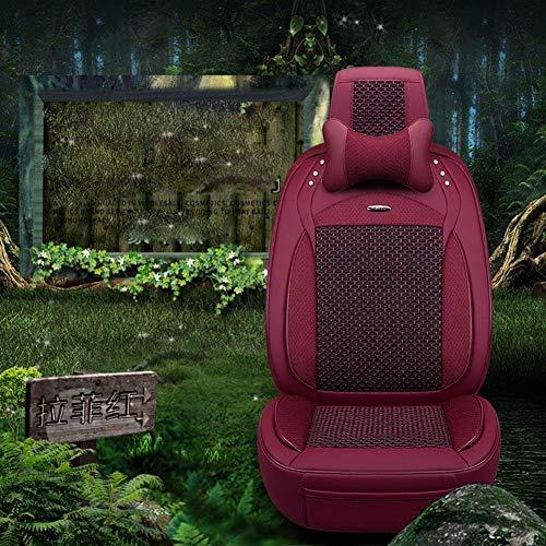 6D Autositz Vier Jahreszeiten Universal Sitz Auto Sitzbezug Leder Plus EIS Tank Fünf Deluxe Edition 5 Farboptionen, D (Leder-auto-sitzbezüge Deluxe)