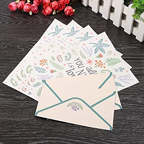 Tutoy Cute Finely Flower Animal Letter pad Writing Paper Office School Supplie 4 paper and 2 envelopes Set