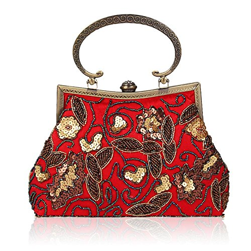 Handtaschen Damen Retro Handgemachte Perlen Schulter Diagonale Abend Paket Red