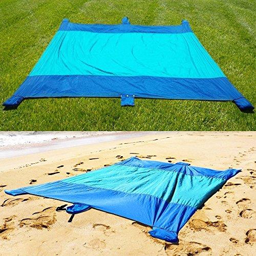 Bezzee picnic beach blanket 9x7 ft asciugatura rapida, in nylon con tasche per sabbia - facile da trasportare, impermeabile - compatto coperta da picnic per all'aperto in famiglia & campeggio