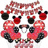 Kreatwow Topolino e Minnie per Feste Orecchie per Orecchie Rosse e Nere Compleanno Happy Banner Polka DOT Palloncini Set per Minnie Mouse Decorazioni per Feste