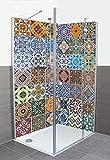 Wunschmaß Duschrückwand mit Motiv aus Aluminium-Verbund für Eckdusche - Auf Maß - Größe Konfigurierbar - Gemusterte Keramikfliesen Abstrakte Motive Muster Fotografie Bunt