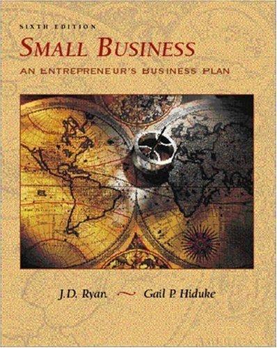 Small Business: An Entrepreneur's Business Plan by J. D. Ryan (2002-01-08) par J. D. Ryan; Gail Hiduke