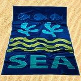 Burrito Blanco Toalla de Playa/Toalla de Piscina 177 Grande para Hombre o Mujer Algodón 100% Tacto de Terciopelo de 95x170 cm con Motivos Marinos, Azul