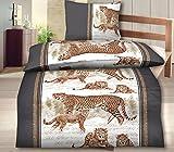 SUPERTOLL 2-Teilig Hochwertige Biber Bettwäsche braun/beige Animal Print mit Reißverschluss 1x 135x200 Bettbezug + 1x 80x80 Kissenbezug