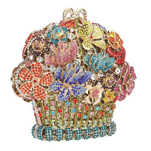 Bonjanvye Flower Basket Shape Clutch Purses And Handbags For Women Multicolor Multicolor