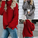 Slolvedi Winter Knitted Solid Color Sweater Loose Women Turtleneck Thicken Tops Coat