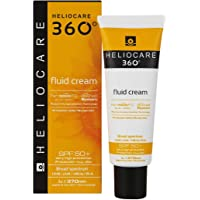 Heliocare 360 Fluid Cream SPF50+ 50ml / Sun Cream For Face/Daily UVA, UVB Visible light and infrared-A Anti-Ageing Sunscreen Protection/Dry and Normal Skin Types/Hydrating