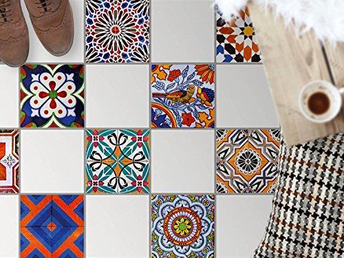 Küchenfolie, Küche Fussboden-Fliesen | Fliesentattoo Küche Bad Bodenbild Badezimmerdeko | 30x30 cm Muster Ornament Portugiesische Fliesen - 9 Stück