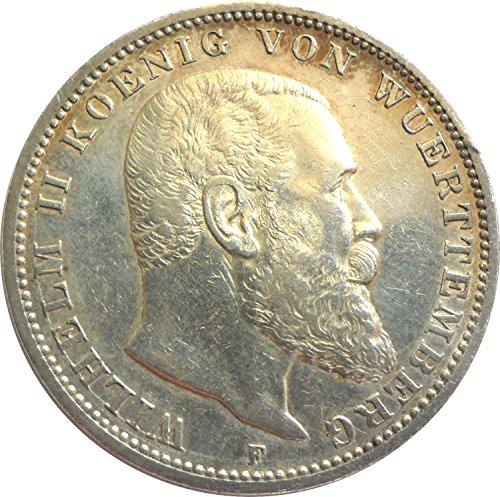 Silbermünze 3 Mark 1908 F - Erhaltung SS+ - Silber Münze - Wilhelm II. König von Württemberg