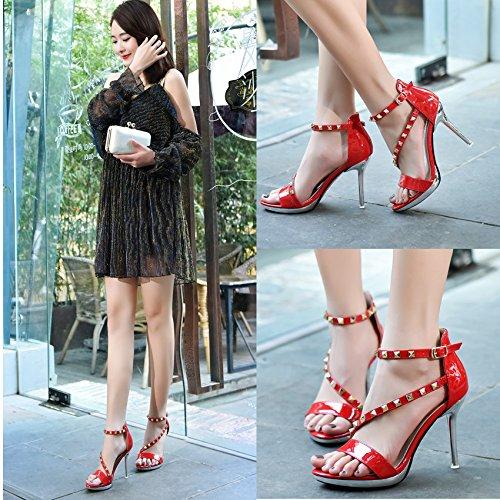 GS~LY Regali Sandali estivi belle donne con rivetti fibbia tacchi alti Black