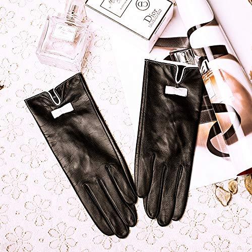 Agelec Lederhandschuhe Damen können den Bildschirm berühren Schaffellhandschuhe Wildleder Winter Dicker Samt Warmer Touchscreen Lederhandschuh Frühling und Herbst Dünne Futterhandschuhe